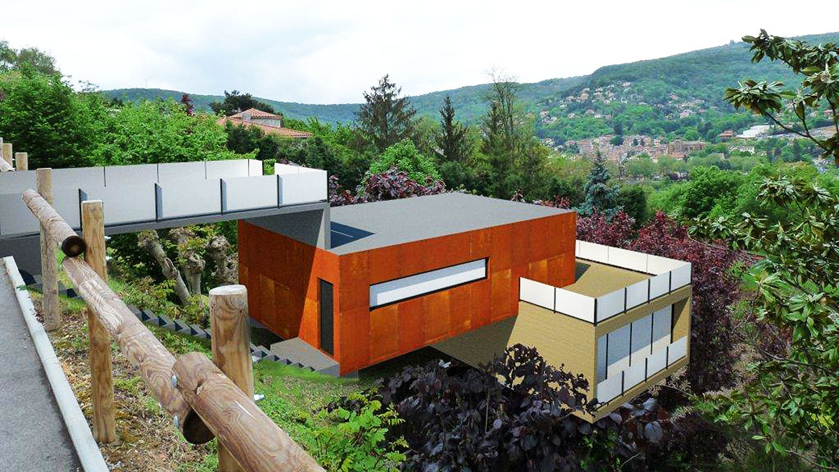 Projection 3D d'une maison sur son terrain